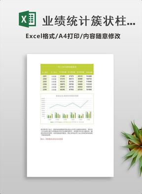 业绩统计簇状柱形图折线图Excel模板绿.xlsx