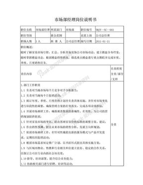 装饰公司市场部部门经理岗位职责.doc