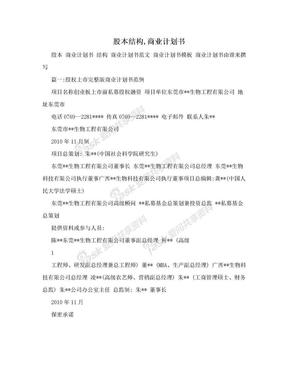 股本结构,商业计划书.doc