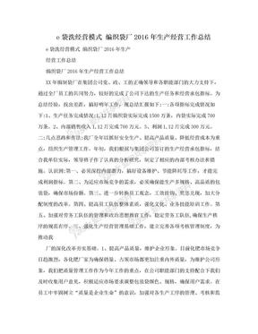 e袋洗经营模式 编织袋厂2016年生产经营工作总结.doc