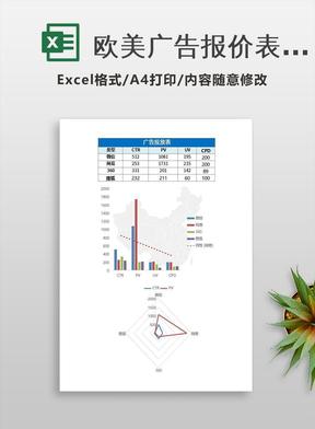 欧美广告报价表现价格excel表模板.xlsx