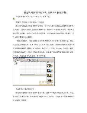 搞定视频分享网站下载 维棠FLV视频下载.doc