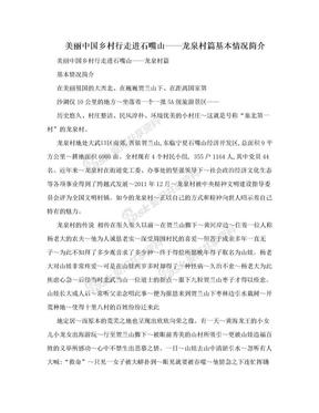 美丽中国乡村行走进石嘴山——龙泉村篇基本情况简介.doc