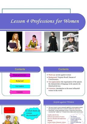 现代大学英语精读5 lesson 4 Professions for Women.ppt