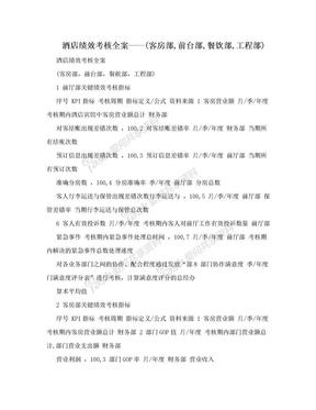 酒店绩效考核全案——(客房部,前台部,餐饮部,工程部).doc