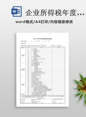 企业所得税年度申报表(A类)