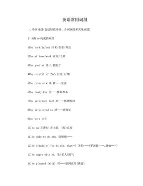 英语常用词组大全(经典珍藏版).doc