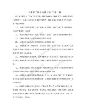 卫生院工作总结及2012工作计划.doc