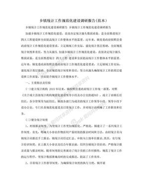 乡镇统计工作规范化建设调研报告(范本).doc
