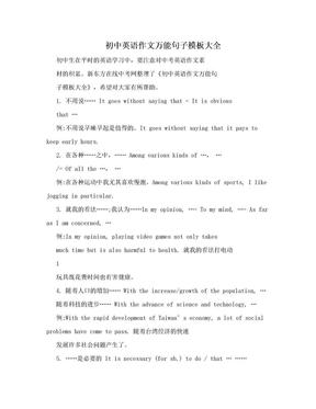 初中英语作文万能句子模板大全.doc