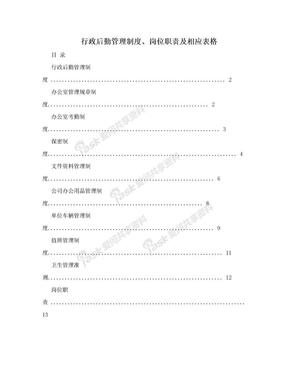 行政后勤管理制度、岗位职责及相应表格.doc