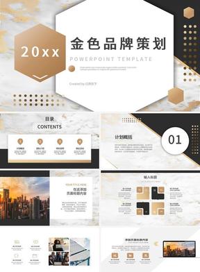 金色大理石纹理质感商业计划书PPT模板.pptx