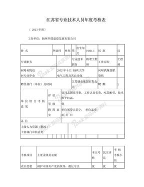 3、江苏省专业技术人员年度考核表.doc