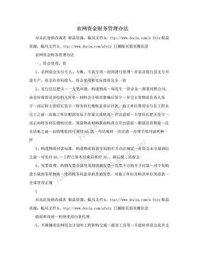 农网资金财务管理办法.doc