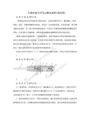专利申请书书写示例及说明(试电笔).doc