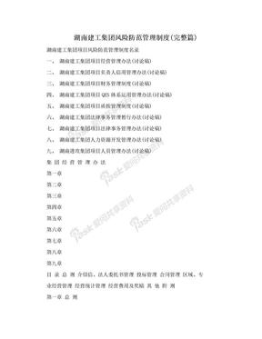 湖南建工集团风险防范管理制度(完整篇).doc