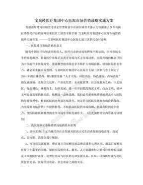 宝泉岭医疗集团中心医院市场营销战略实施方案.doc