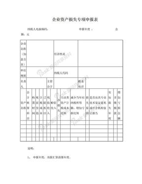 企业资产损失专项申报表.doc
