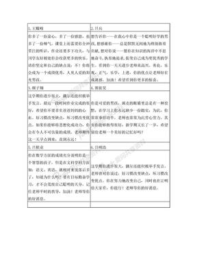 小学生评语(表格版).doc