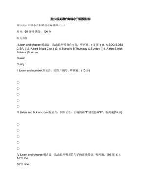 湘少版英语六年级小升初模拟卷.docx