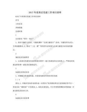 2017年度基层党建工作项目清单.doc