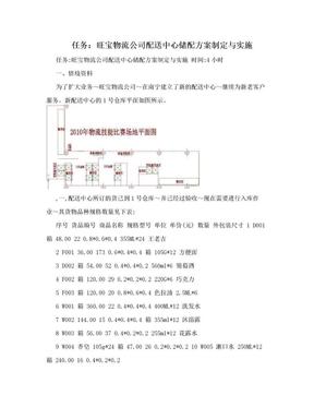 任务:旺宝物流公司配送中心储配方案制定与实施.doc