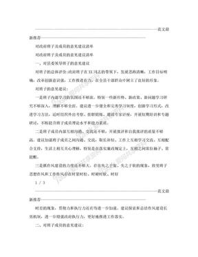 对政府班子及成员的意见建议清单.doc