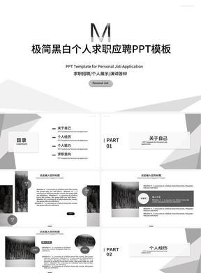 简约几何黑白清新个人展示求职应聘ppt模板.ppt