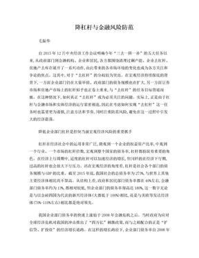 降杠杆与金融风险防范-毛振华.doc