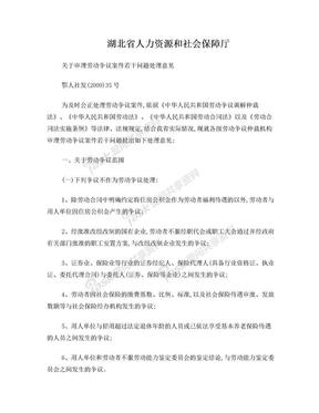 湖北省人力资源和社会保障厅《关于审理劳动争议案件若干问题处理意见》.doc