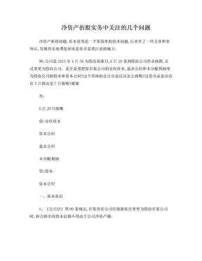股改:净资产折股实务中关注的几个问题.doc