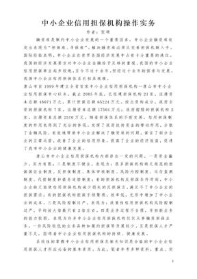 中小企业信用担保机构操作实务.doc