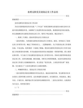 农村无职党员设岗定责工作总结.doc