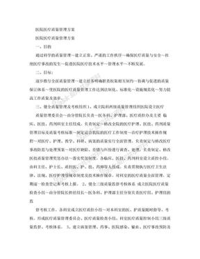医院医疗质量管理方案.doc