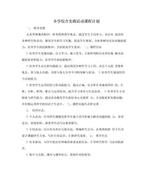 小学综合实践活动课程计划.doc