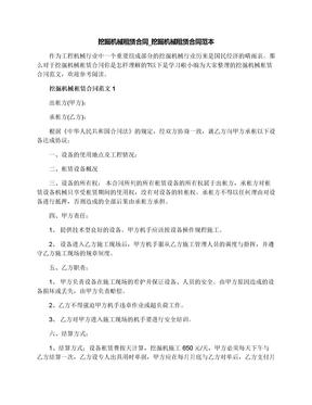 挖掘机械租赁合同_挖掘机械租赁合同范本.docx