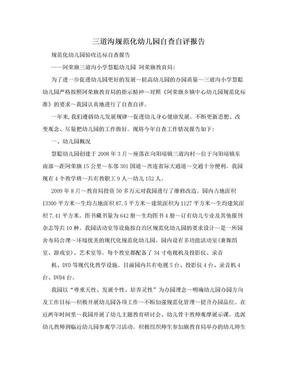 三道沟规范化幼儿园自查自评报告.doc