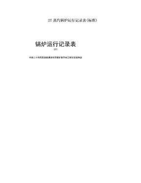 2T蒸汽锅炉运行记录表(标准).doc