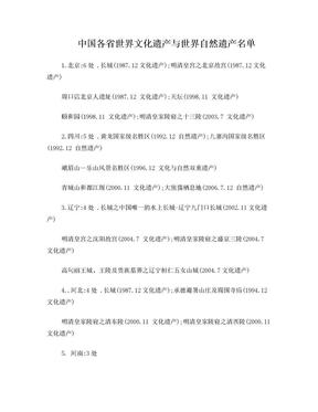 中国各省世界文化遗产与世界自然遗产名单.doc