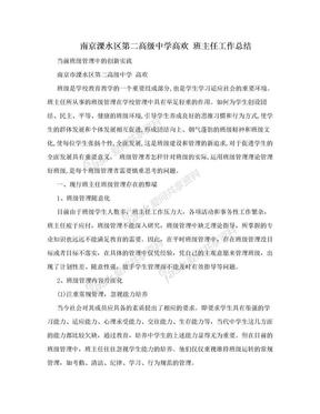 南京溧水区第二高级中学高欢 班主任工作总结.doc