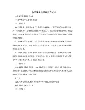 小学数学小课题研究方案 .doc