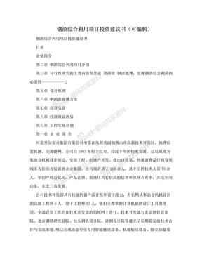 钢渣综合利用项目投资建议书(可编辑).doc