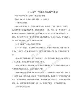 高二化学下学期选修五教学计划.doc