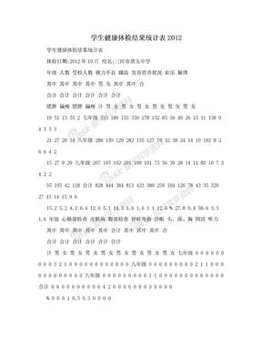 学生健康体检结果统计表2012.doc