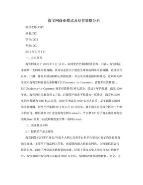 淘宝网商业模式及经营策略分析.doc