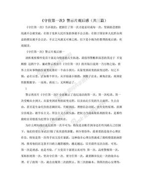 《守住第一次》警示片观后感(共三篇).doc