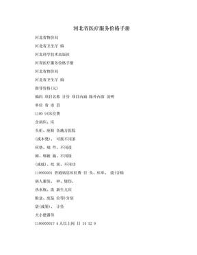 河北省医疗服务价格手册.doc