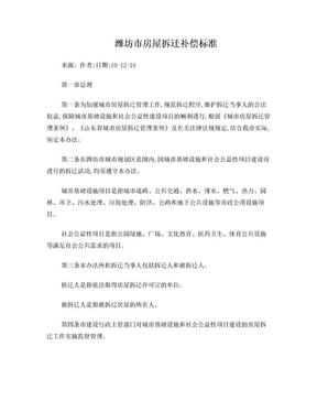 潍坊市房屋拆迁补偿标准.doc