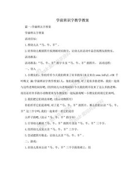 学前班识字教学教案.doc