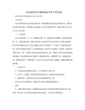 高安市青年企业家协会半年工作计划.doc